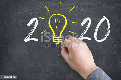New Year 2020 Idea Concepts with Light Bulbs