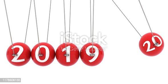 New year 2020 newton cradle start