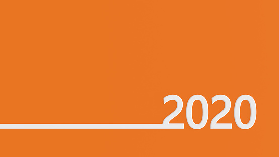 istock New Year 2020 on Orange Background 1174149435