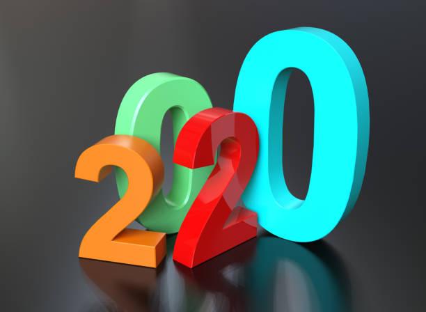 neujahr 2020 - 3d typografie stock-fotos und bilder