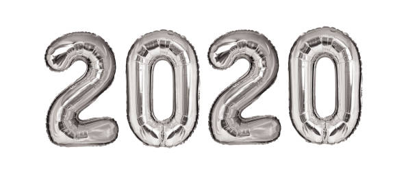 New Year 2020 silver balloons isolated stock photo