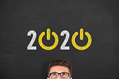 New Year 2020 Start Up Concepts on Blackboard Background