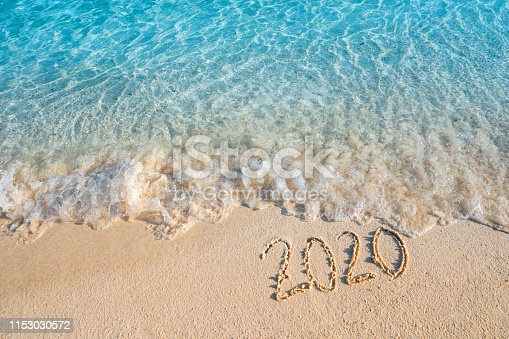 istock New Year 2020 Summer concept ,Soft wave lapped the sandy beach background 1153030572