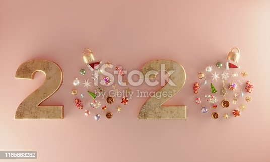 Christmas ornaments flat lay, can be used new year 2020 concepts. ( 3d render )