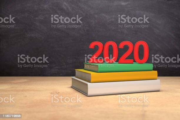 New year 2020 with Text books - 3d Rendering Image