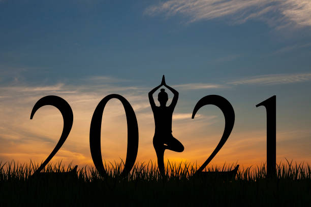 New year 2020 yoga concepts woman pose stock photo