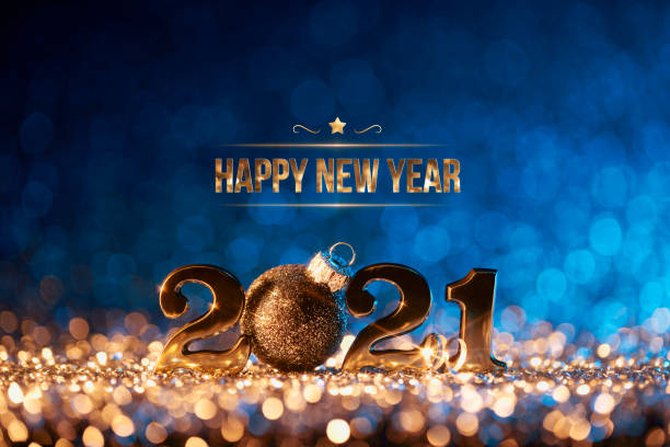 New Year 2021 Christmas card - Gold Blue Party Celebration stock photo