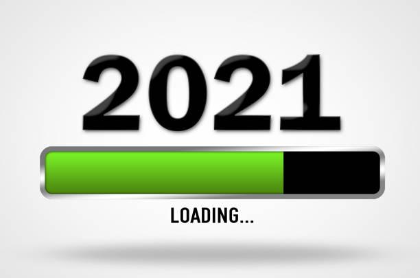 New Year 2021 coming, loading bar illustration stock photo