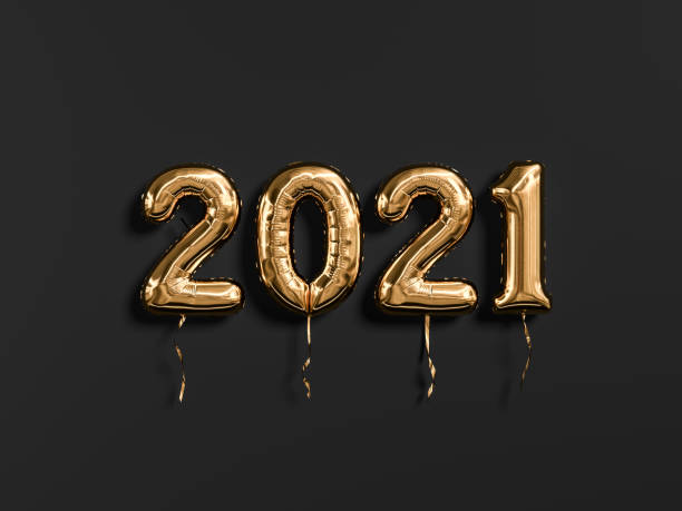 New year 2021 gold and black. Gold foil balloons numeral 2021 isolated on black background. 3D rendering New year 2021 gold and black. Gold foil balloons numeral 2021 isolated on black background. 3D rendering 2021 stock pictures, royalty-free photos & images