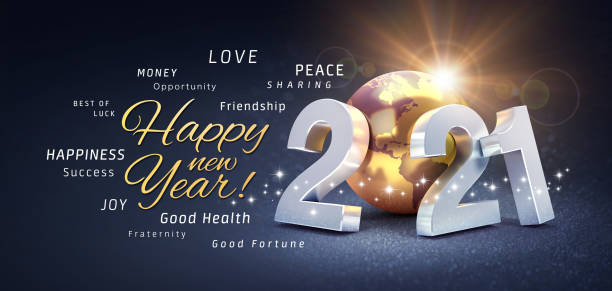 New Year 2021 Greeting card wishing the best Happy New Year greetings, best wishes and 2021 date number, composed with a gold colored planet earth, on a festive black background, with glitters and stars - 3D illustration 2021 stock pictures, royalty-free photos & images