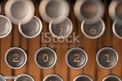 New Year 2021 on typewriter key on vintage typewriter  ( Royal KMM from 1941 )