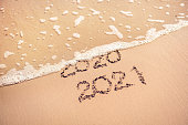 New Year 2021 replace 2020 on the sea beach summer concept