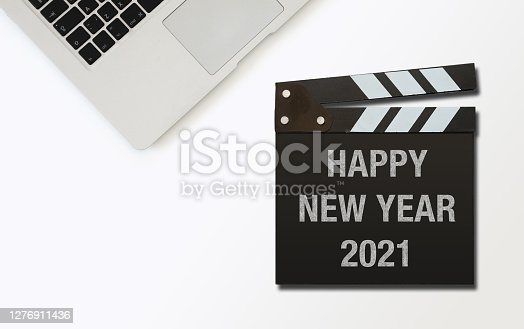 New year 2021 resolution start clapboard