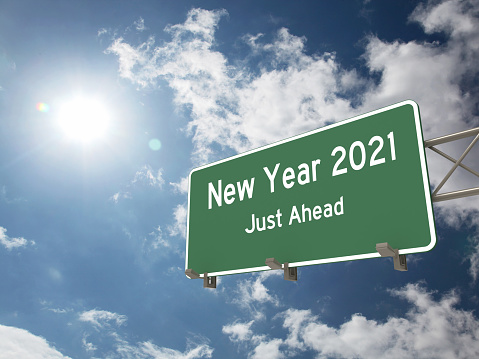 New year 2021 road start highway sign