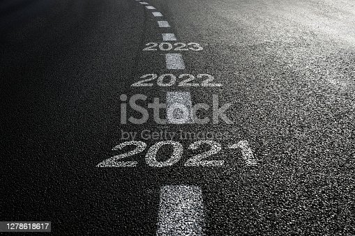 New year 2021 road start