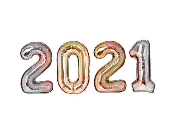 New Year 2021 silver balloons isolated stock photo