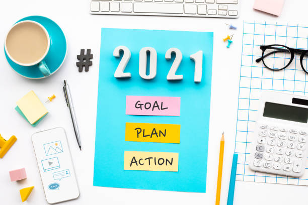 New year 2021,goal,plan,action text  with modern office accessories.Business management,Inspiration concepts stock photo