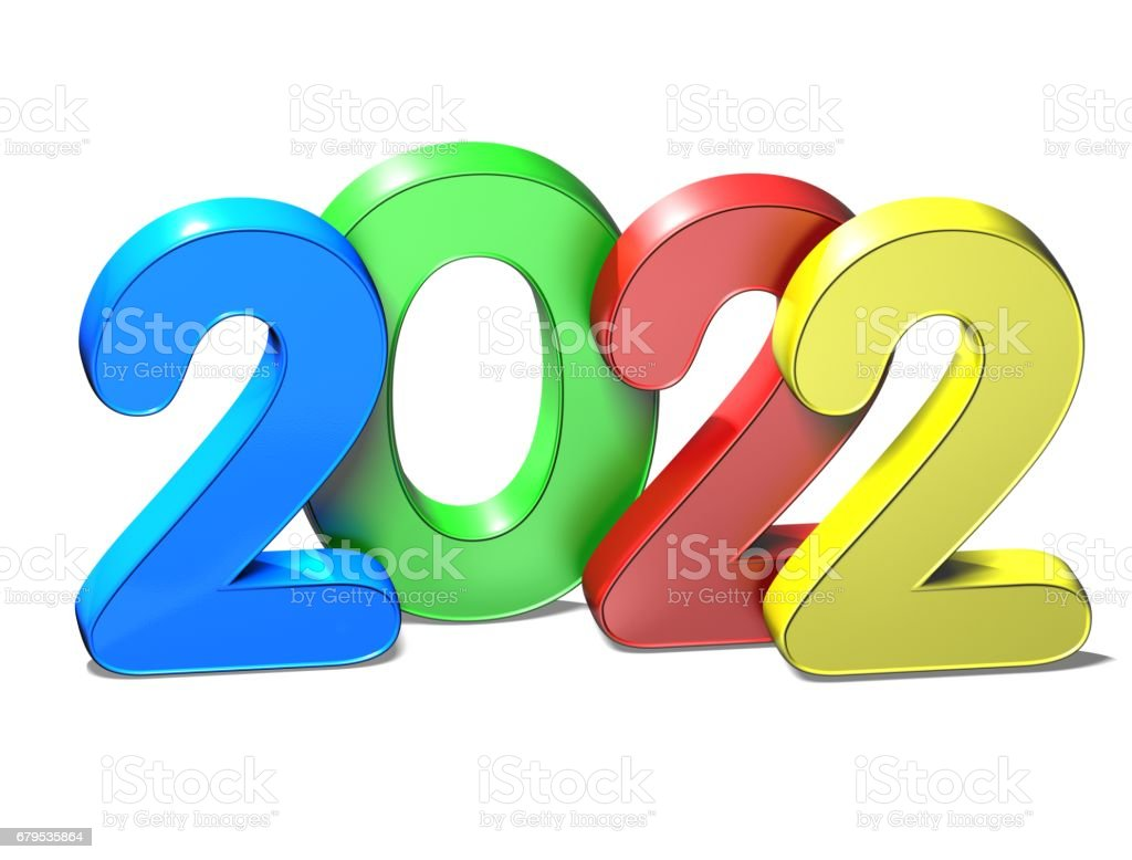 3D New Year 2022 on white background royalty-free stock photo