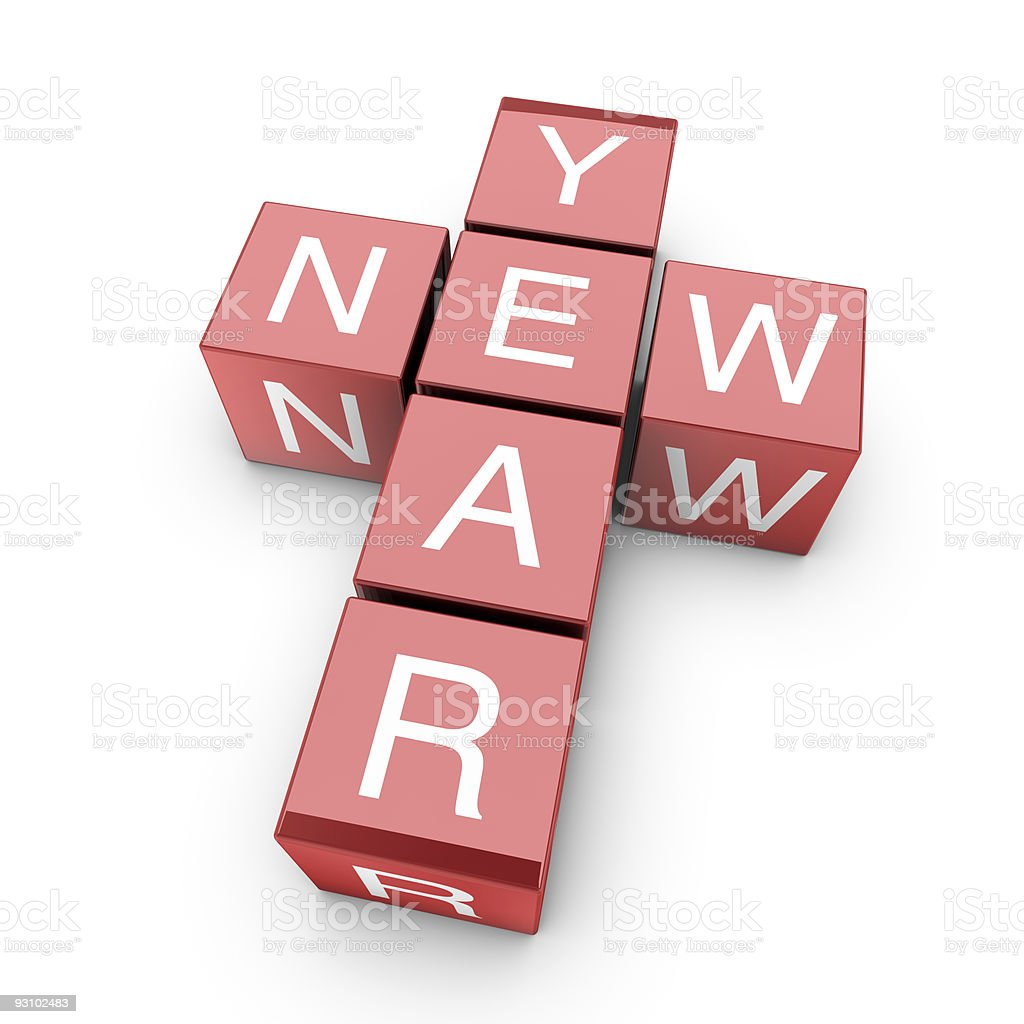 New year 3d crossword royalty-free stock photo