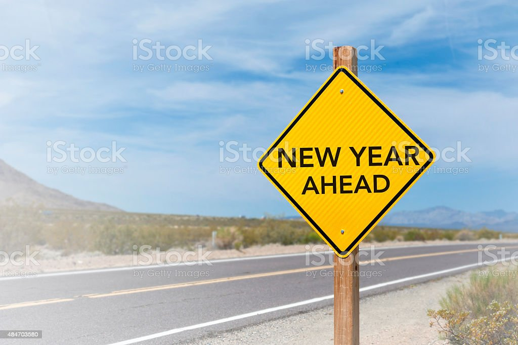 New Year Ahead road sign stock photo