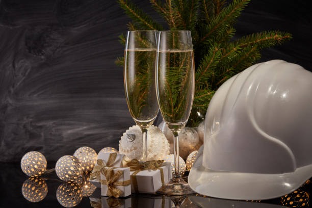 New Year and Christmas construction stock photo