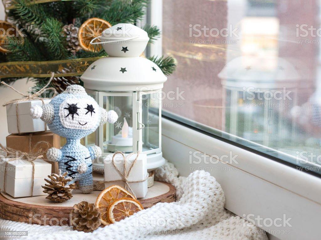 Año nuevo y Navidad Robot. - foto de stock