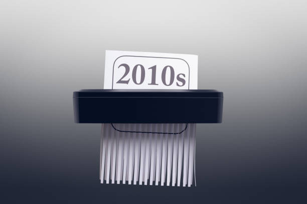 New Year and Decade - 2010s in the Paper Shredder stock photo