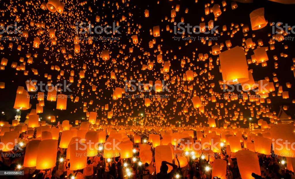 New year and Yeepeng festival in Thailand stock photo