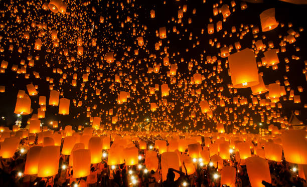New year and Yeepeng festival in Thailand New year and Yeepeng festival in Thailand, Yee peng is very famus in China, Taiwan and Thailand lantern stock pictures, royalty-free photos & images