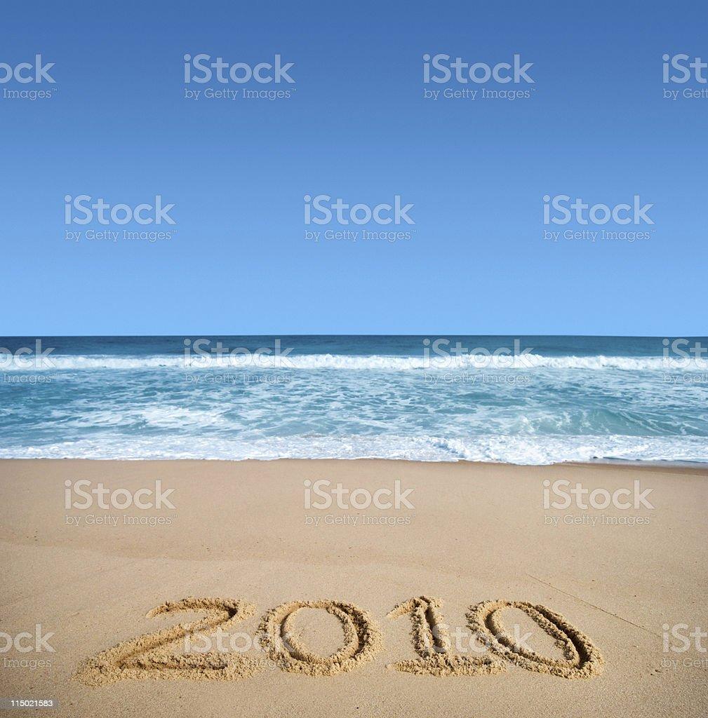 New year at beach 2010 royalty-free stock photo