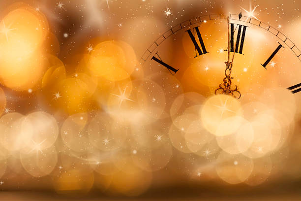 new year at midnight: old clock and holiday lights - historic vs new stock photos and pictures