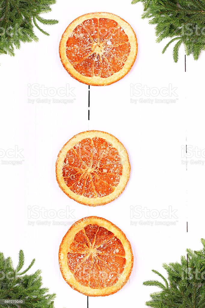 New Year background Christmas tree with dried orange royalty-free stock photo