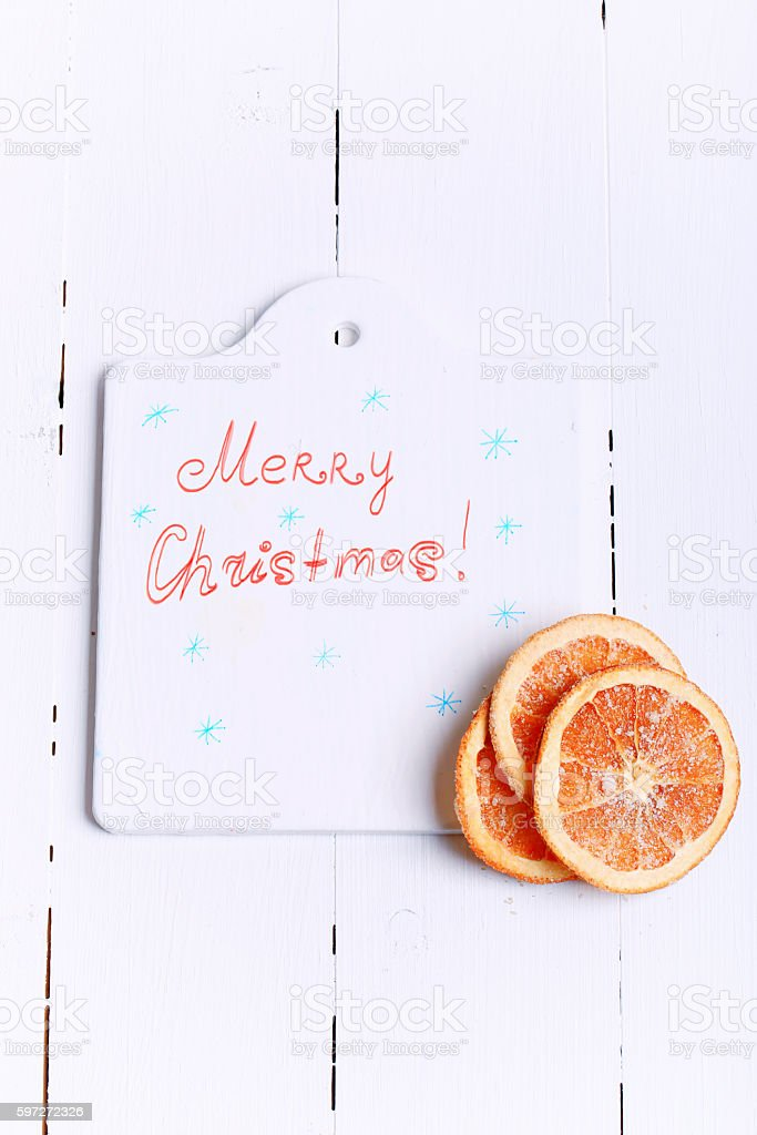 New Year background cutting board with the words Merry Christmas Lizenzfreies stock-foto