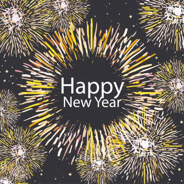 New year background with watercolour fireworks stock photo