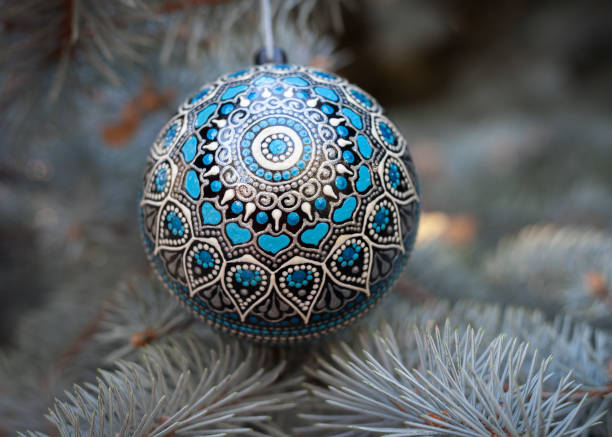 New Year ball with ethnic ornament stock photo