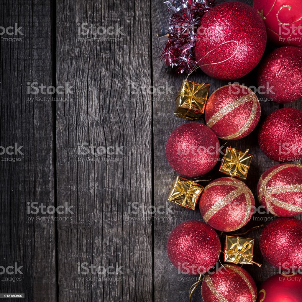 new year balls frame on rustic wooden background royalty free stock photo