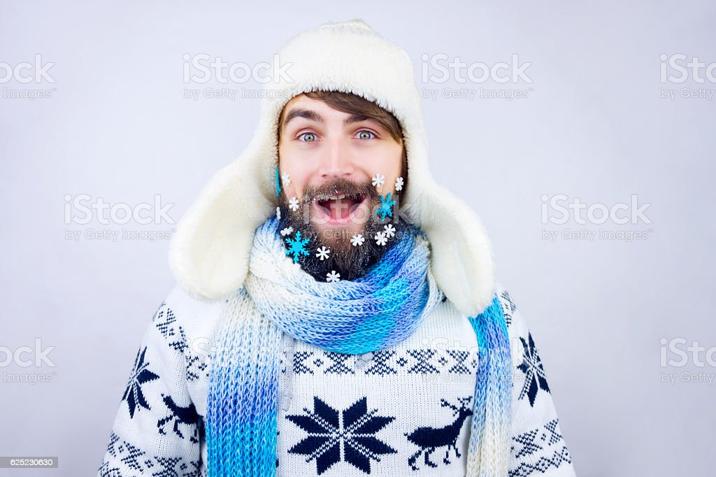 New year beard stock photo