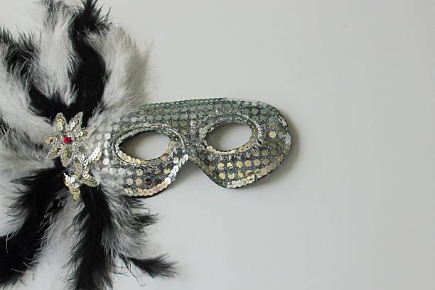 Neujahr Schwarz und weiße Maske mit weißen Textfreiraum – Foto