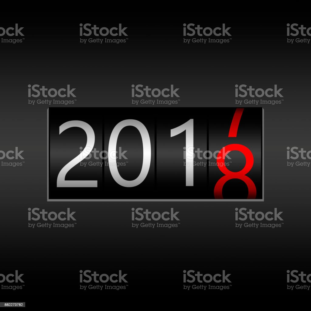 2018. New Year Black Odometer on black background - New Year 2018 design, odometer style with white and red numbers stock photo