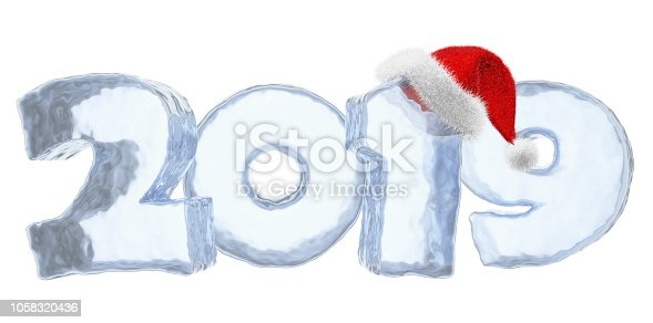 istock New Year blue ice text 2019 with red hat 1058320436