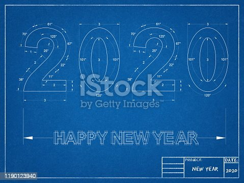 istock 2020 new year Blueprint 1190123940