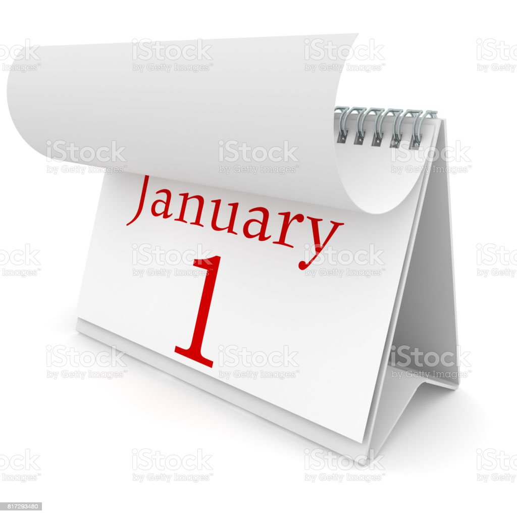 New year calendar january 1 stock photo