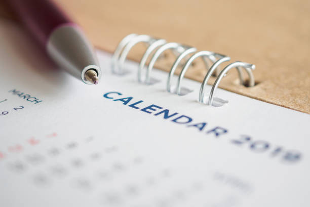 new year calendar page 2019 - holiday calendars stock pictures, royalty-free photos & images