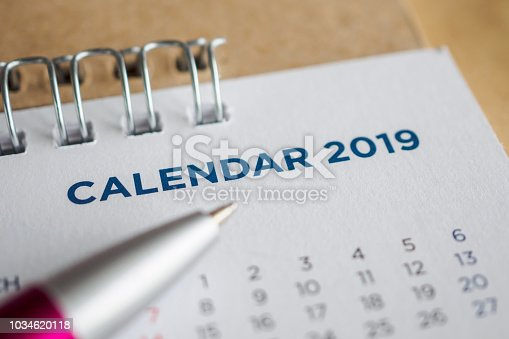 1027407218 istock photo New year calendar page 2019 1034620118