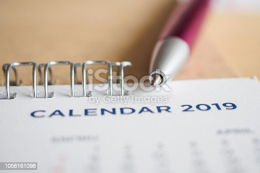 1027407218 istock photo New year calendar page 2019 1058161098