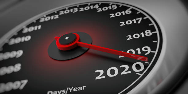 2020 new year. Car speedometer gauge closeup detail. 3d illustration stock photo