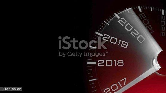 2020 new year. Car speedometer gauge closeup detail
