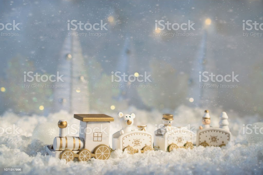 New Year Card With Toy Train In A Fairy Village On Winter Background With Snow And Lights Template Greeting Card Stock Photo Download Image Now Istock