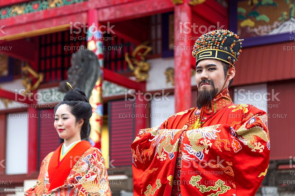New Year celebration at Shuri castle in Okinawa, Japan Okinawa, Japan - January 02, 2015: Dressed-up people performing a show at the traditional New Year celebration at Shuri-jo castle Arts Culture and Entertainment Stock Photo