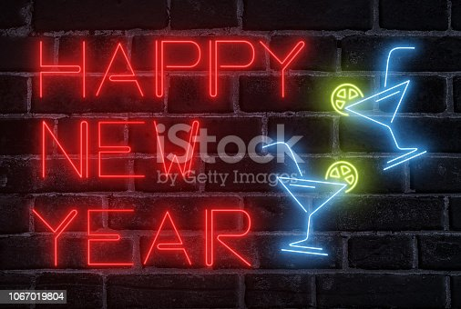 511875398 istock photo New Year celebration concept. Neon fluorescent text 1067019804